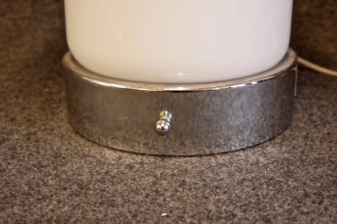 italienische tischlampe aus glas verchromtem metall 1970er bei pamono kaufen. Black Bedroom Furniture Sets. Home Design Ideas