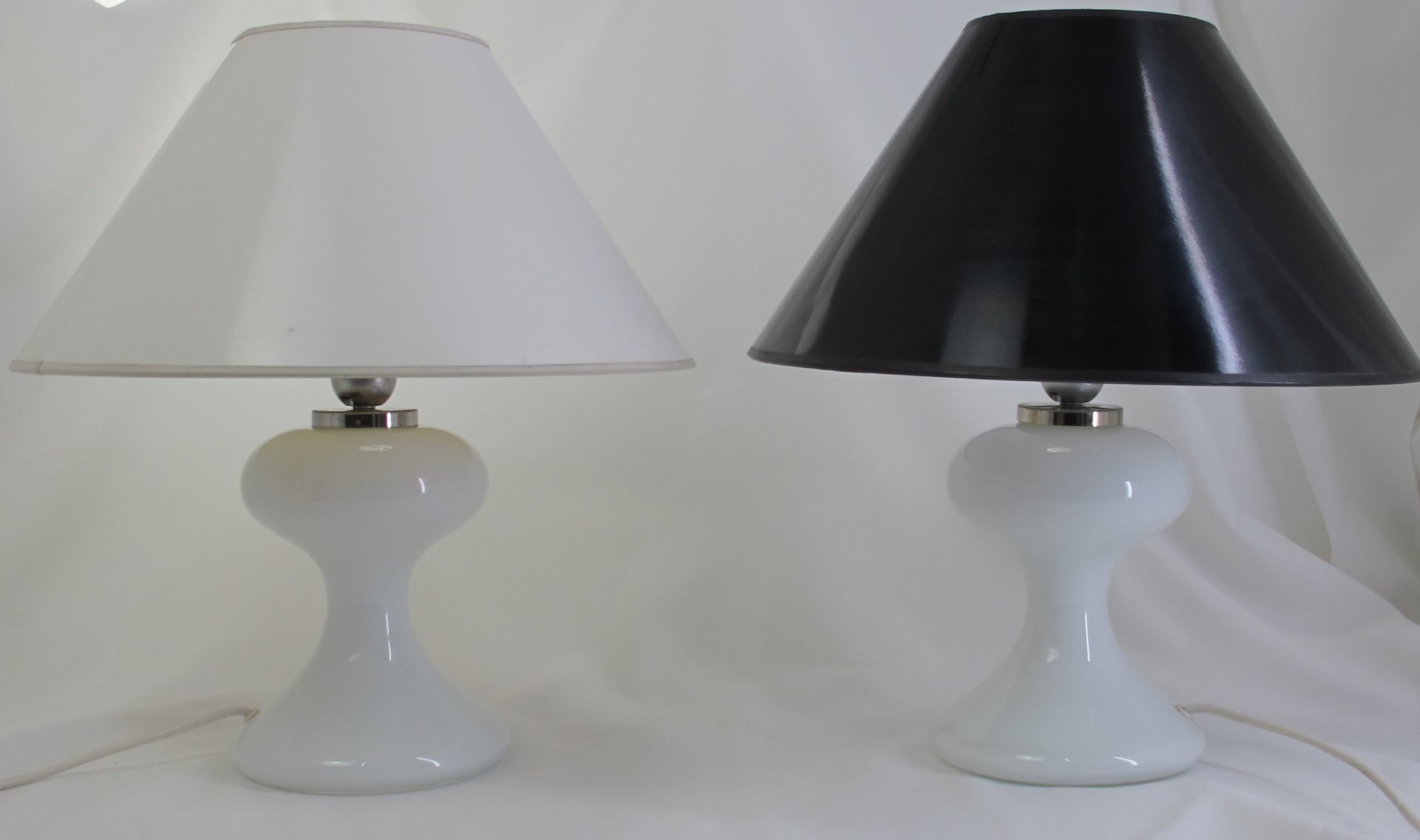 German ml 1 white glass table lamps by ingo maurer 1967 set of 2 german ml 1 white glass table lamps by ingo maurer 1967 set of 2 aloadofball Gallery