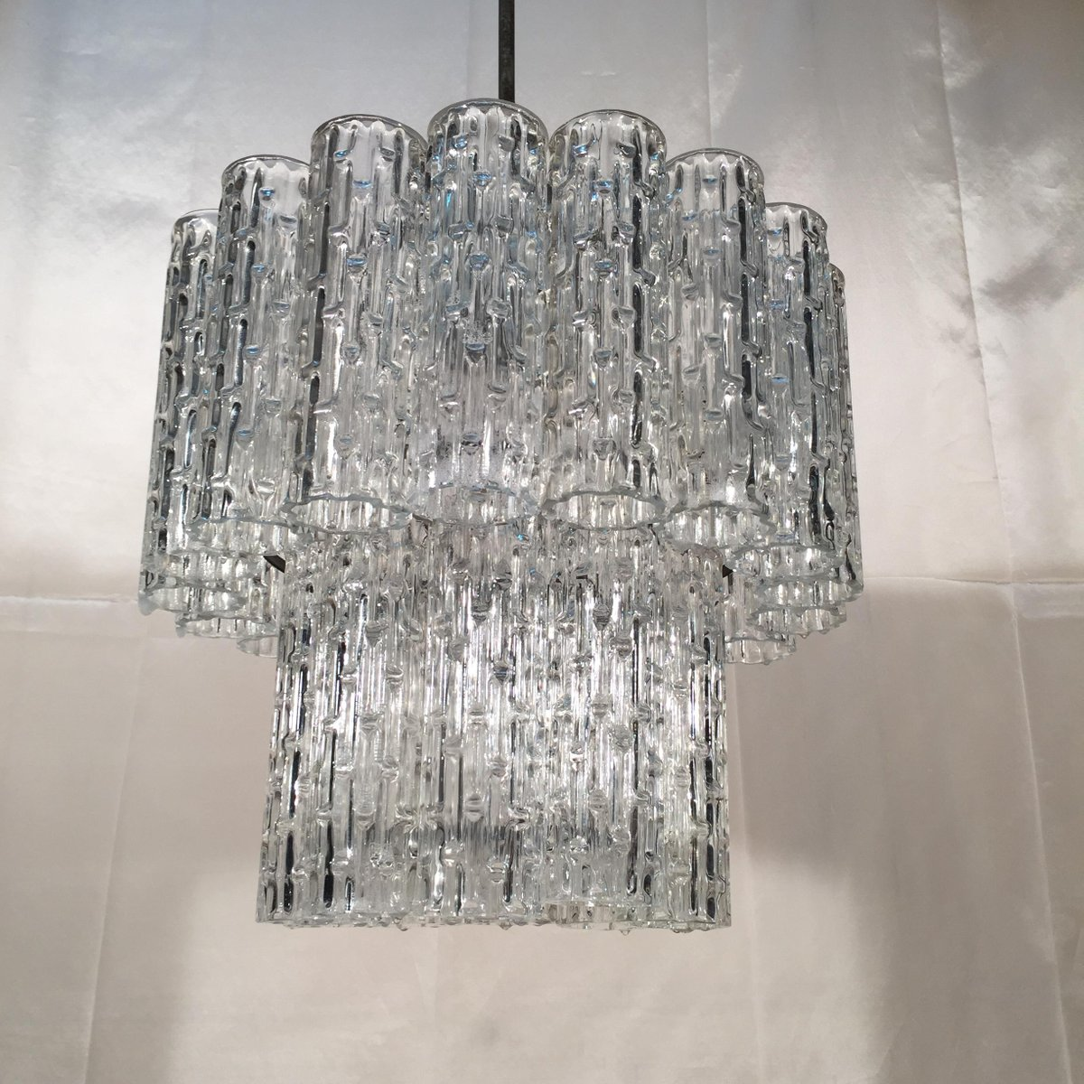 vintage murano crystal glass tube chandelier for sale at pamono. Black Bedroom Furniture Sets. Home Design Ideas