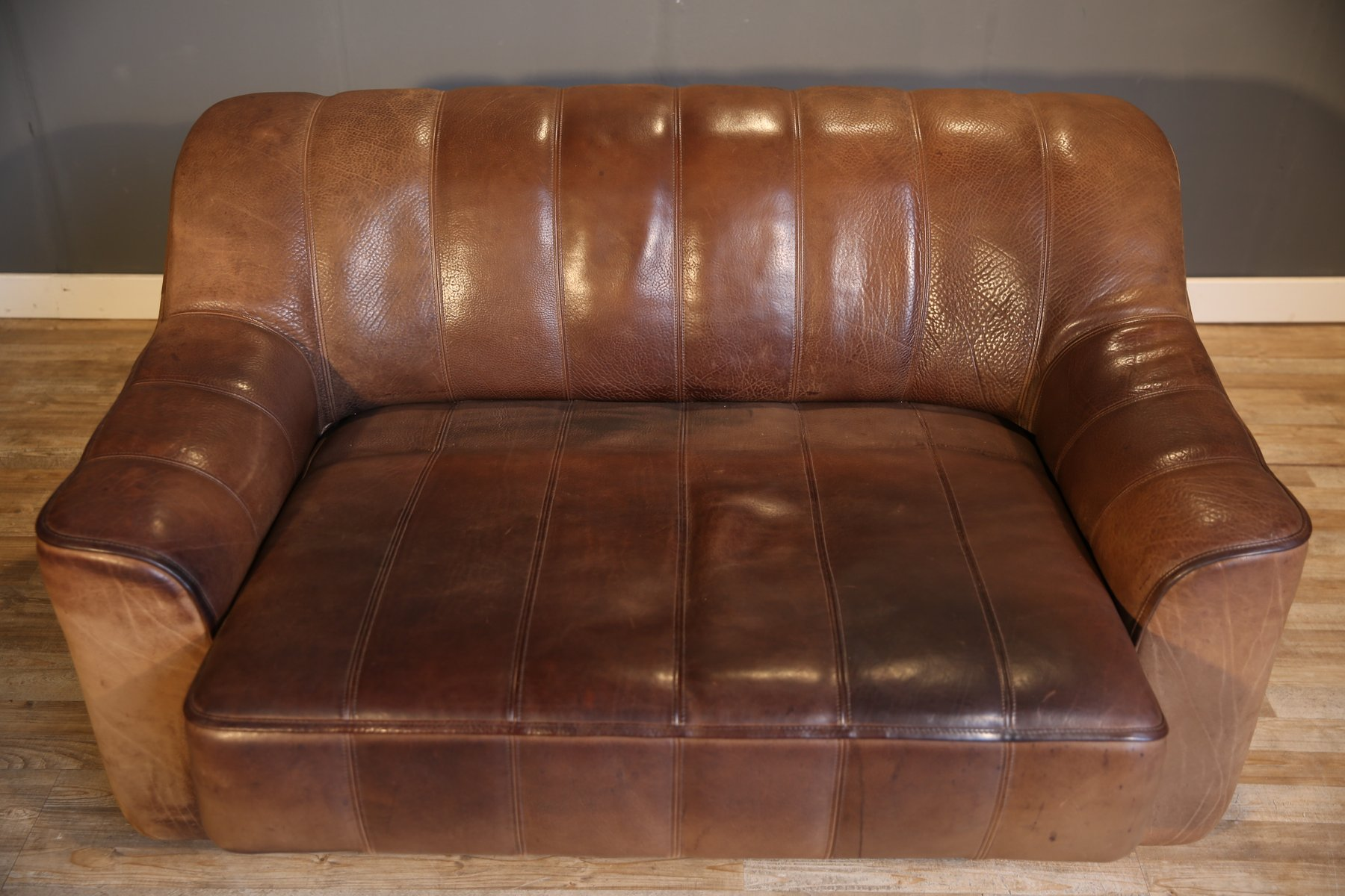 DS 44 Double Seat Leather Sofa from de Sede 1970s for sale at Pamono
