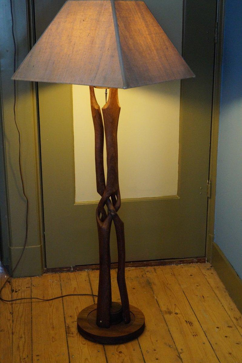 Lampada da terra in legno intrecciata anni 39 50 in vendita for Costo lampada