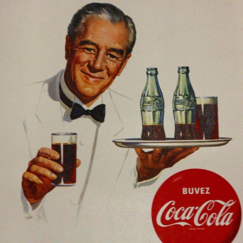 french vintage coca cola cardboard poster 1950s for sale at pamono. Black Bedroom Furniture Sets. Home Design Ideas