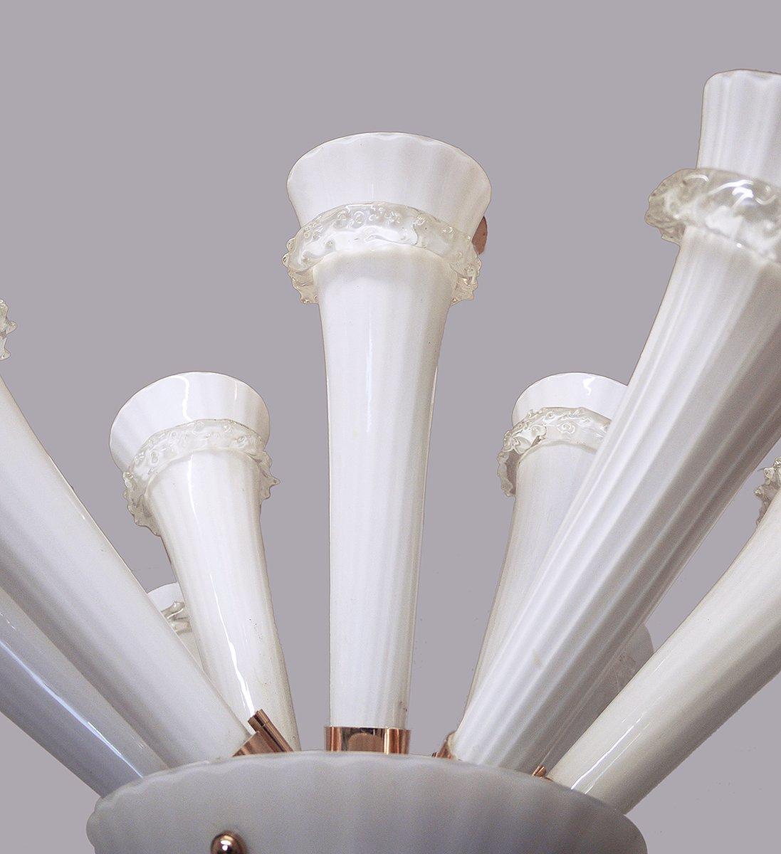 trompeten deckenlampe aus handgeblasenem glas 1960er bei. Black Bedroom Furniture Sets. Home Design Ideas