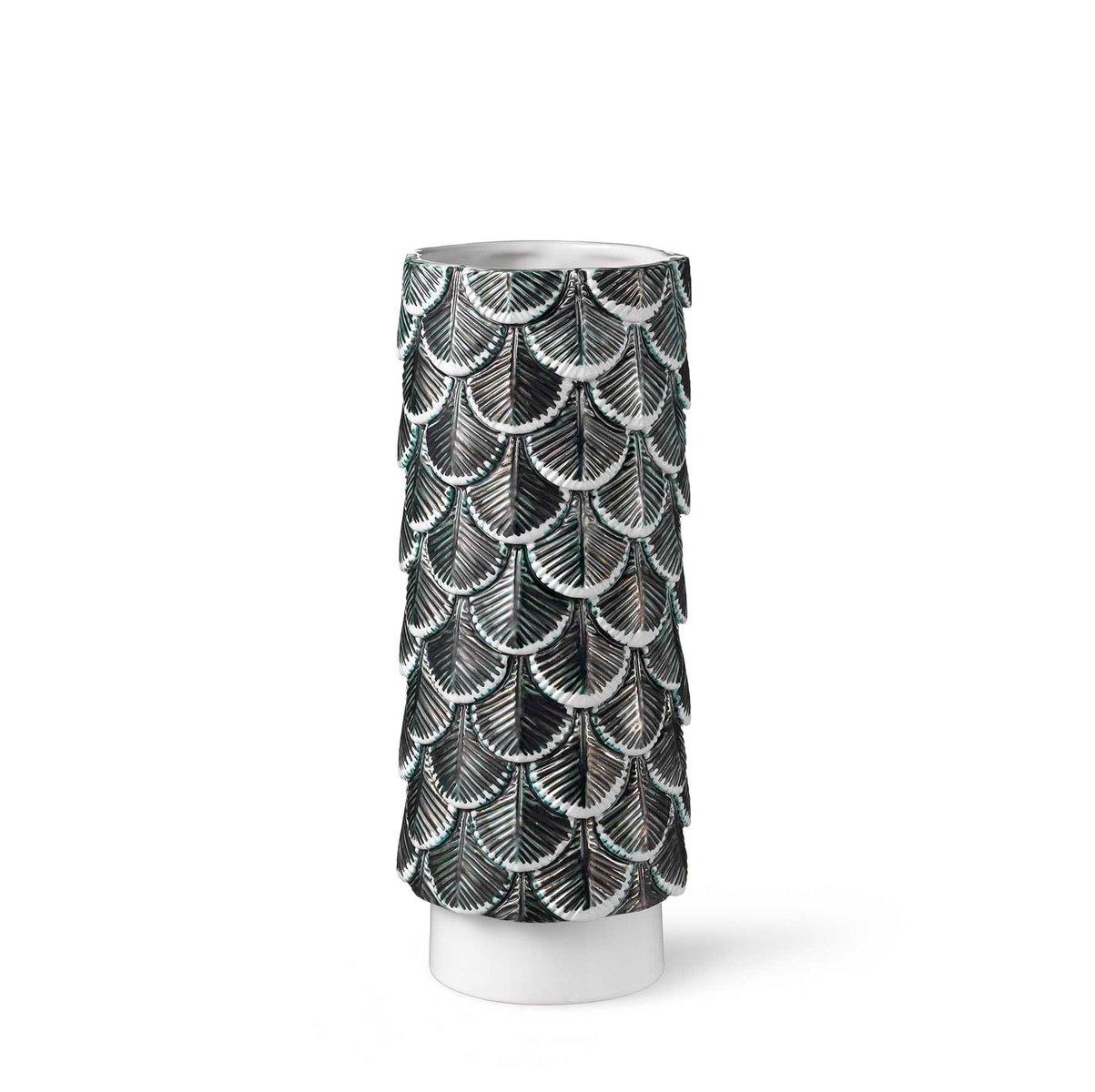 hand dekorierte plumage vase in wei schwarz von. Black Bedroom Furniture Sets. Home Design Ideas