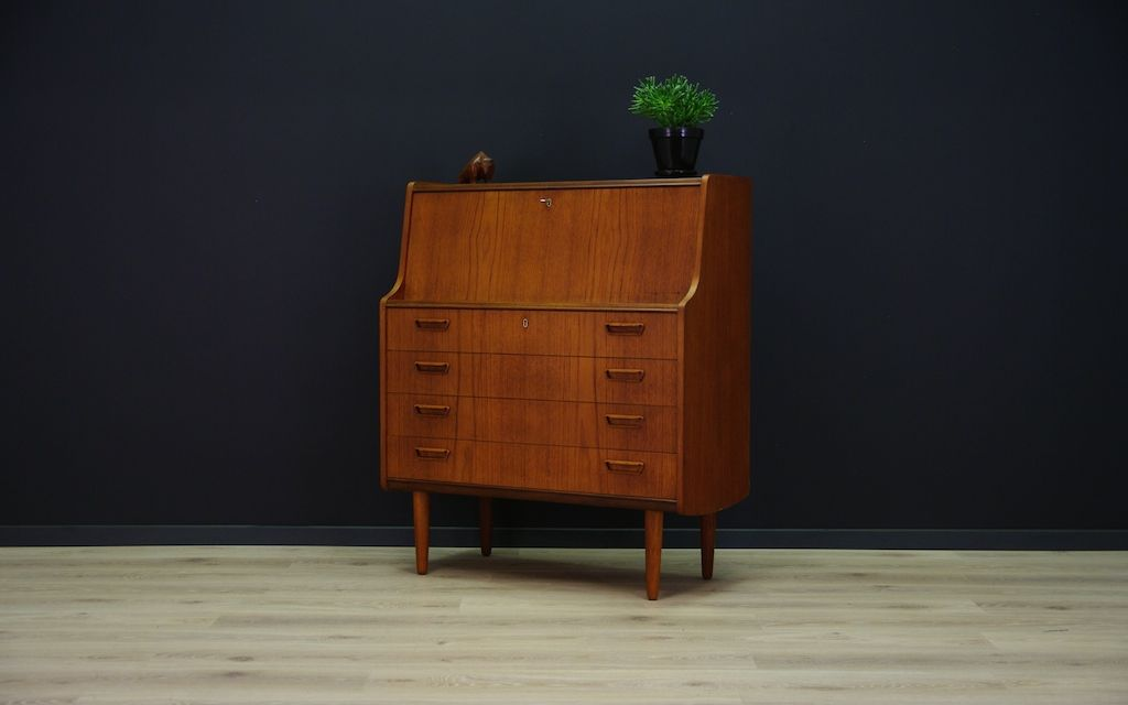 Vintage Danish Teak Veneer Secretary For Sale At Pamono