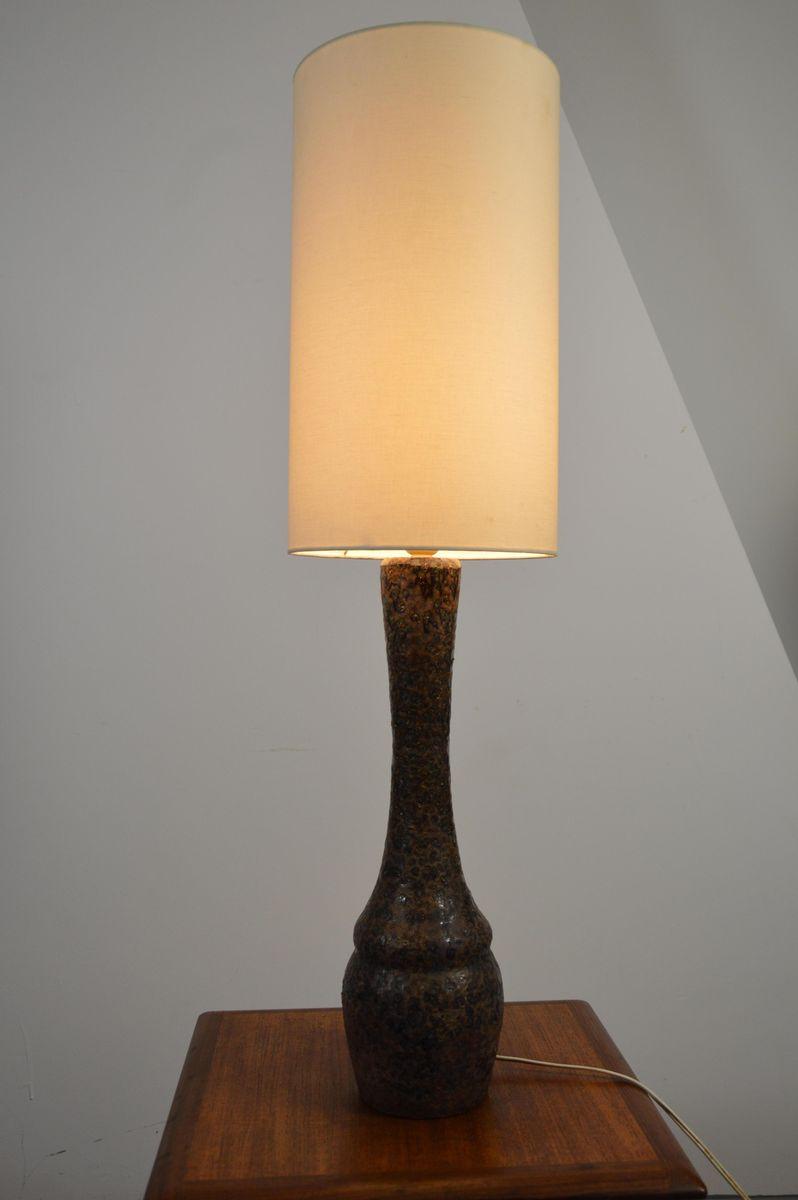 Lampada da tavolo in ceramica marrone, anni \'60 in vendita su Pamono