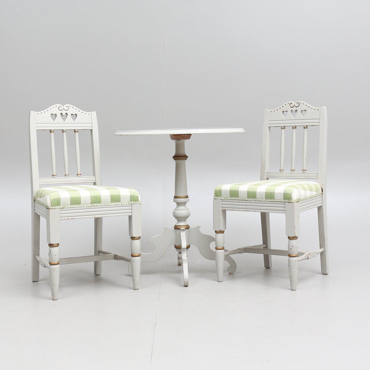Tavolo e sedie antichi in stile gustaviano set di 3 in for Tavolo e sedie