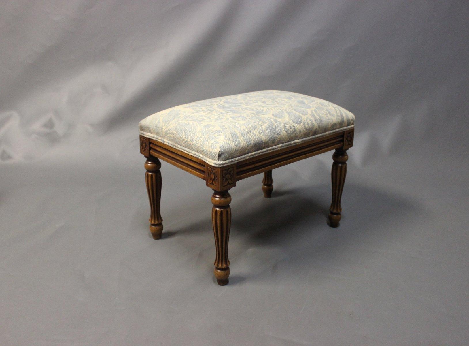Small Foyer Stool : Danish small mahogany and light fabric footstool s