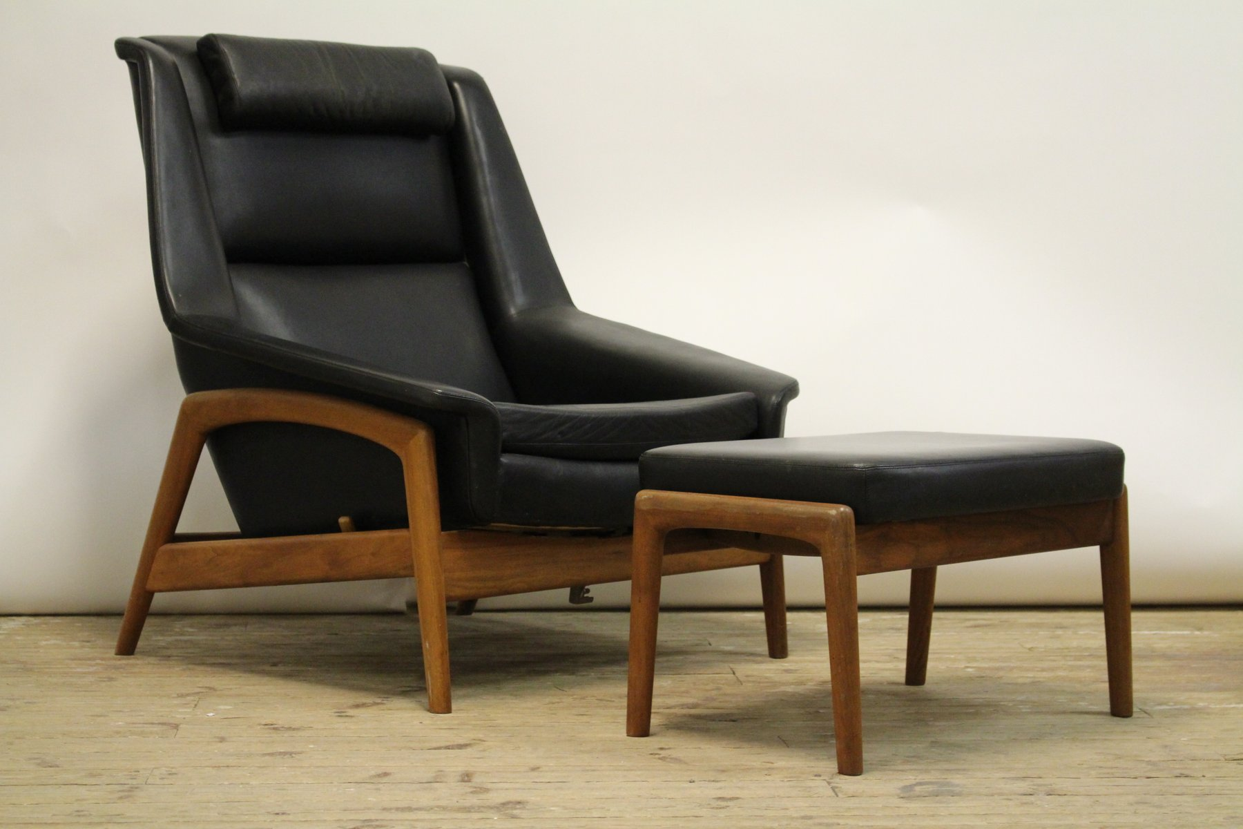 Swedish Profile 4 Armchair With Stool By Folke Ohlsson For Dux, 1960