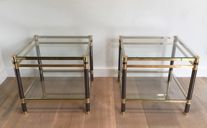 couchtische aus glas und messing 1970er 2er set bei pamono kaufen. Black Bedroom Furniture Sets. Home Design Ideas