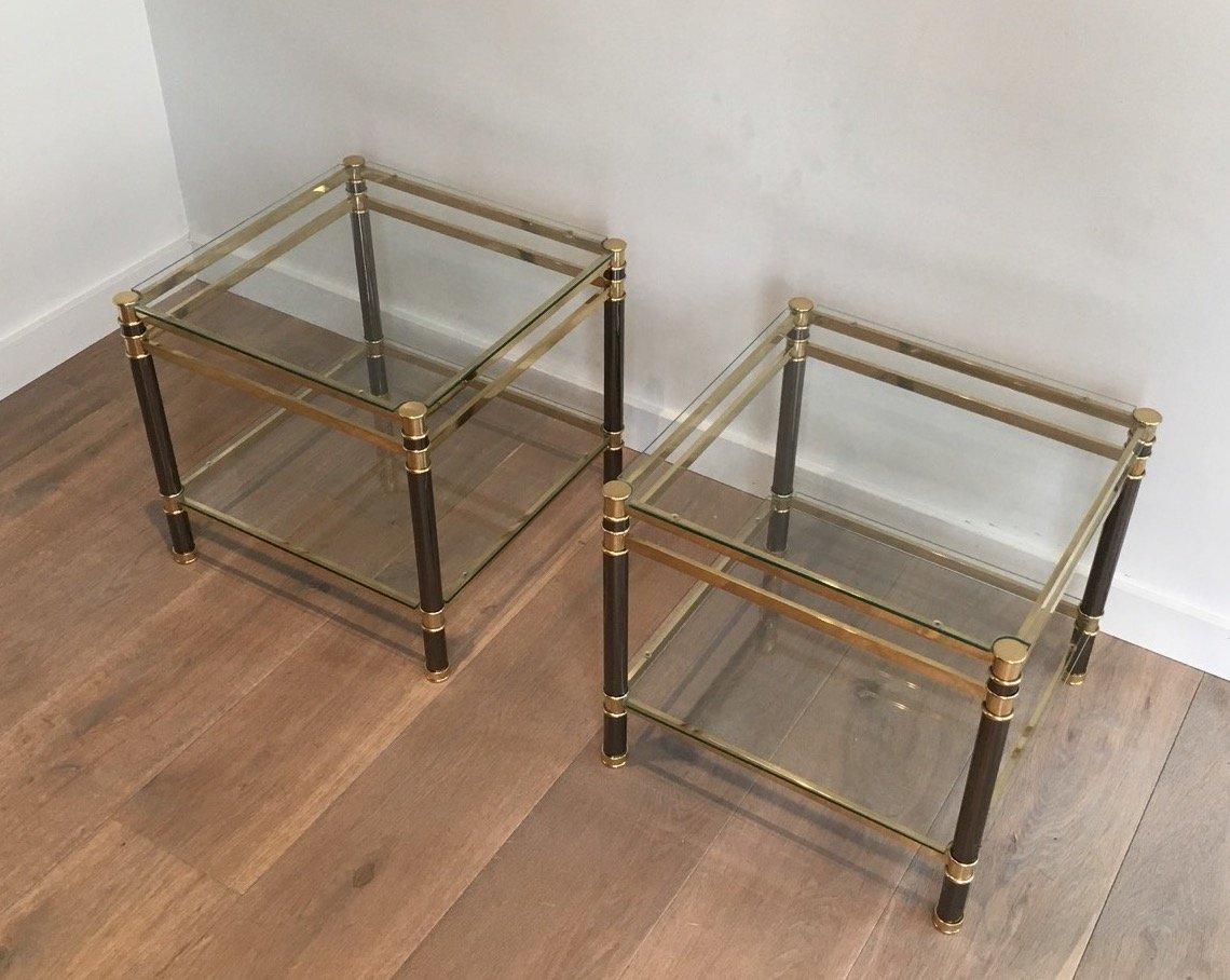 couchtische aus glas und messing 1970er 2er set bei. Black Bedroom Furniture Sets. Home Design Ideas