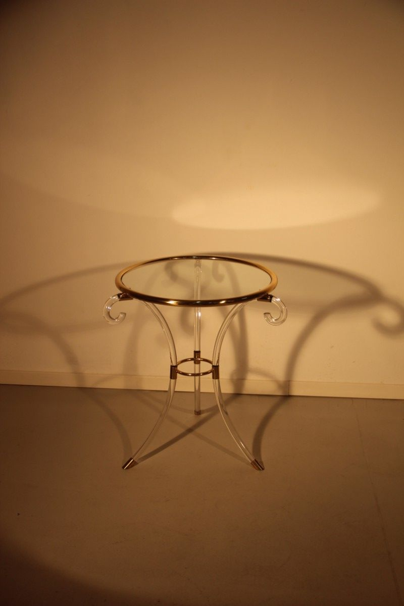 italian plexiglass and brass coffee table 1970s for sale at pamono. Black Bedroom Furniture Sets. Home Design Ideas