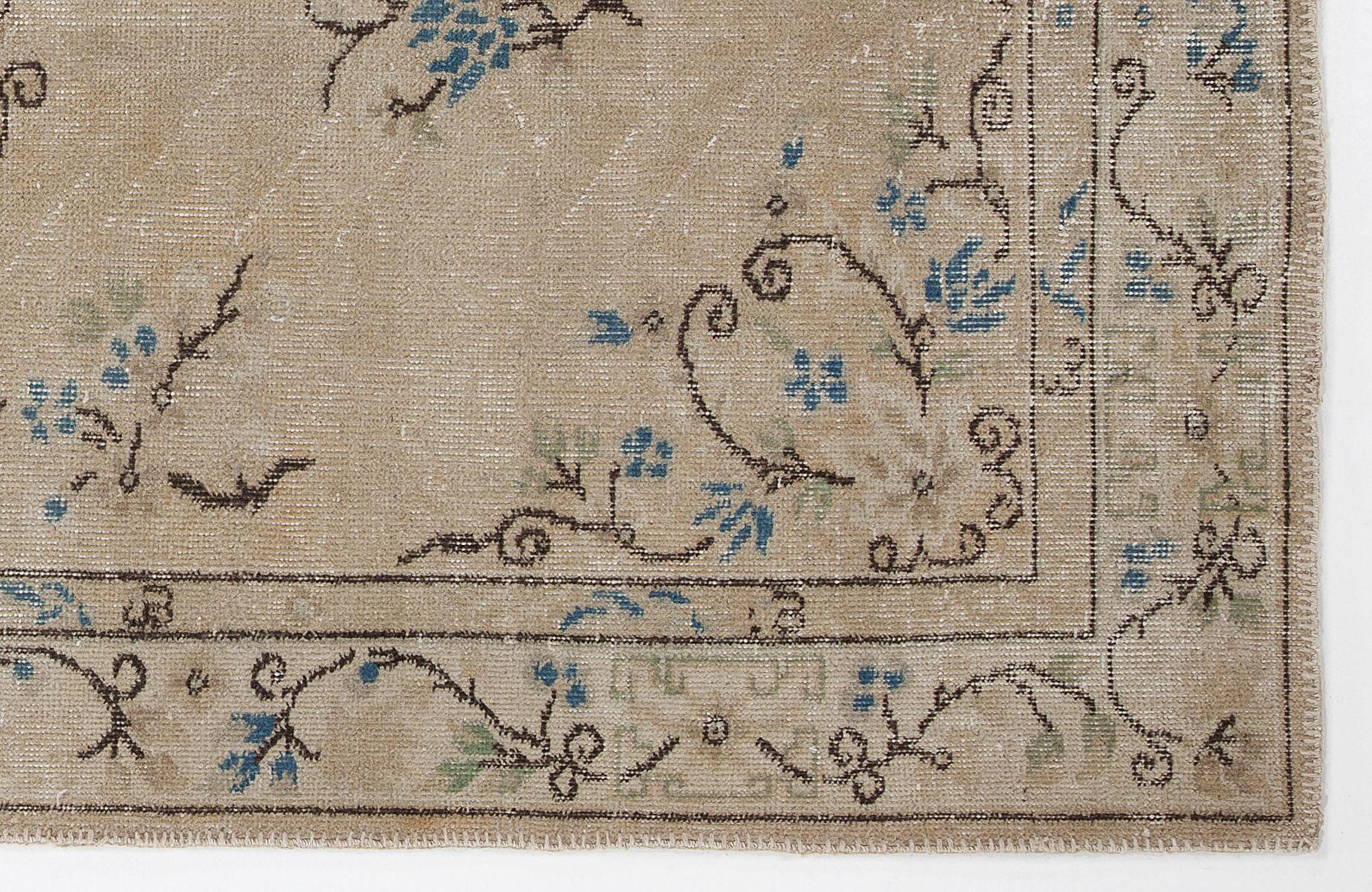 beige eingef rbter vintage teppich bei pamono kaufen. Black Bedroom Furniture Sets. Home Design Ideas