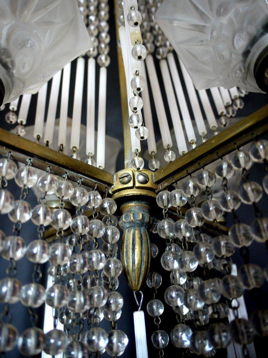 Vintage French Art Nouveau Chandelier From Lorrain Daum