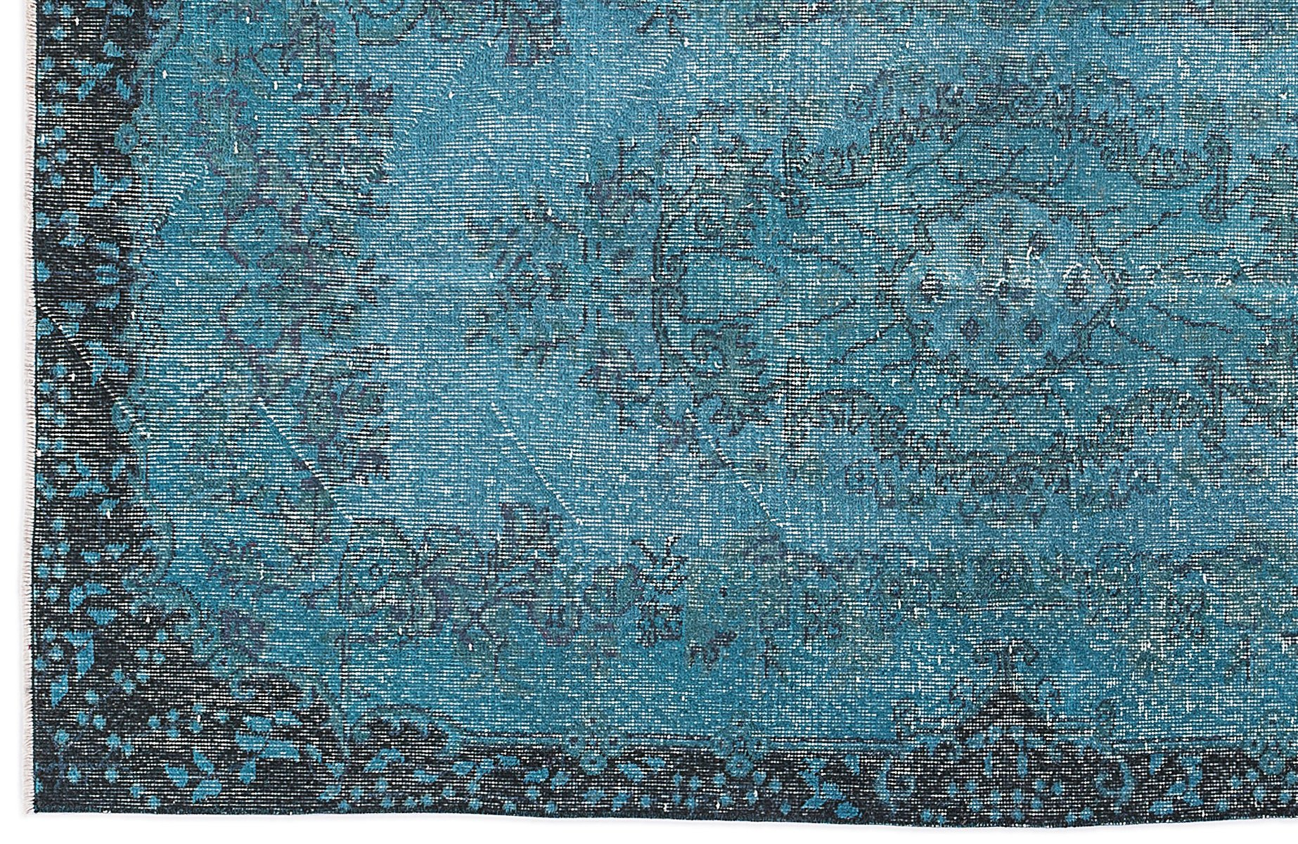 Turquoise Overdyed Turkish Rug for sale at Pamono