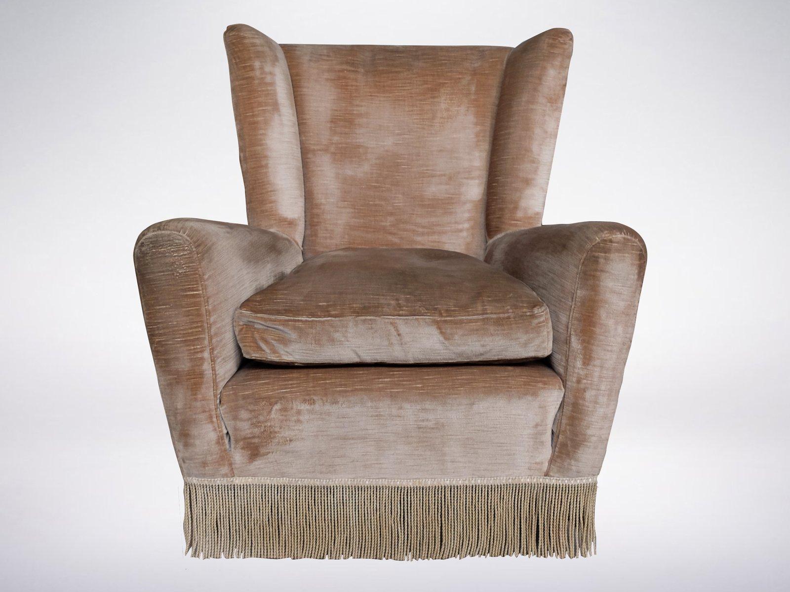 Velvet Wingback Armchair 1960s