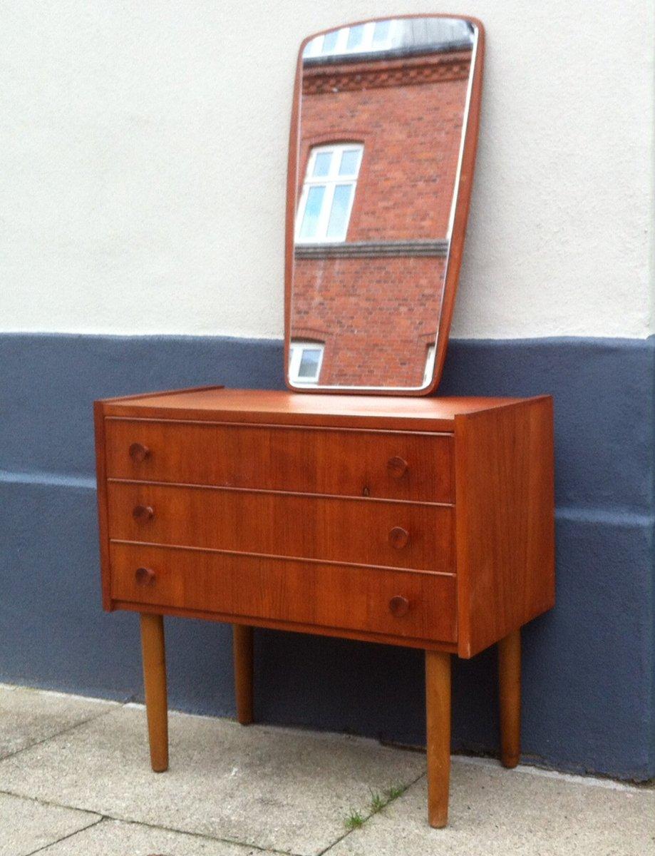d nische mid century teak kommode spiegel 1960er bei pamono kaufen. Black Bedroom Furniture Sets. Home Design Ideas
