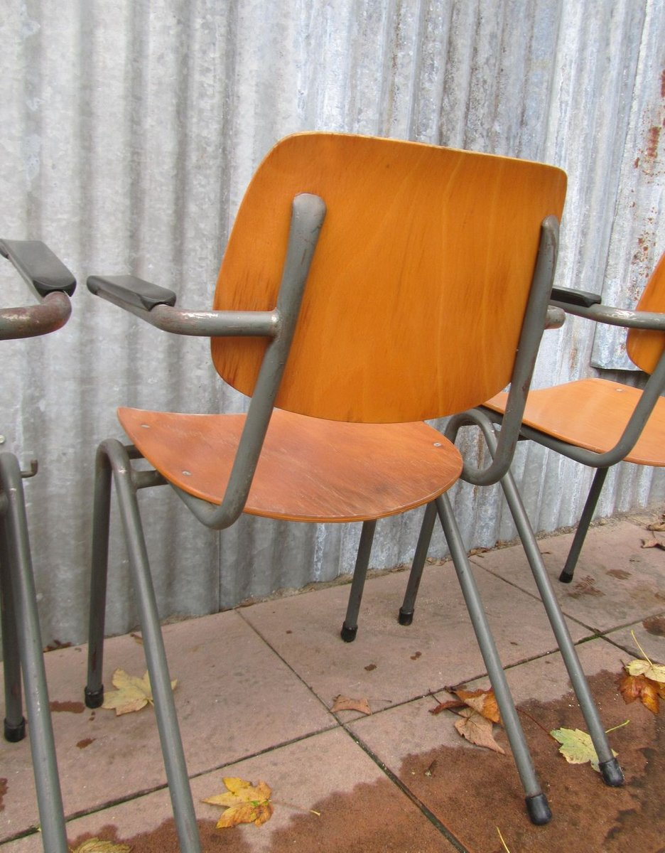 mid century school chairs with bakelite armrests set of 4 for sale at pamono. Black Bedroom Furniture Sets. Home Design Ideas
