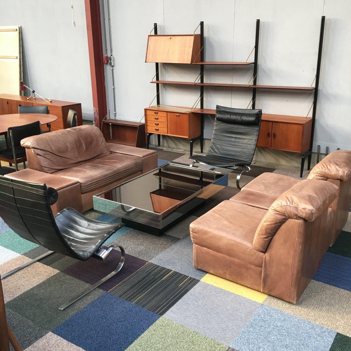 modulares braunes vintage leder wohnzimmer set bei pamono kaufen. Black Bedroom Furniture Sets. Home Design Ideas