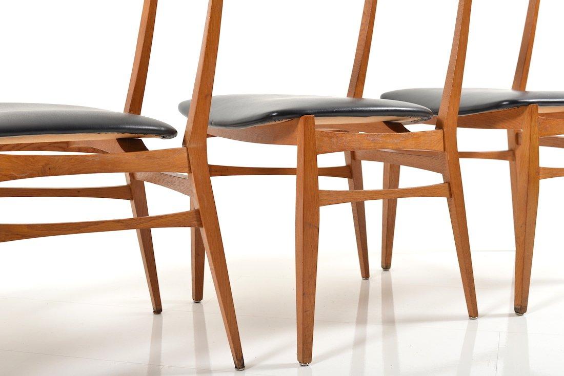 buchenholz teak esszimmerst hle 1950er 4er set bei pamono kaufen. Black Bedroom Furniture Sets. Home Design Ideas