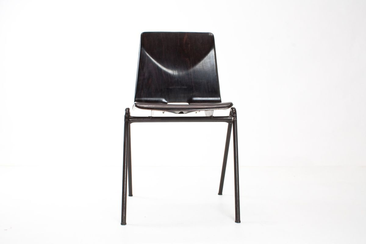 industrial s25 plywood and metal school chairs from galvanitas 1975