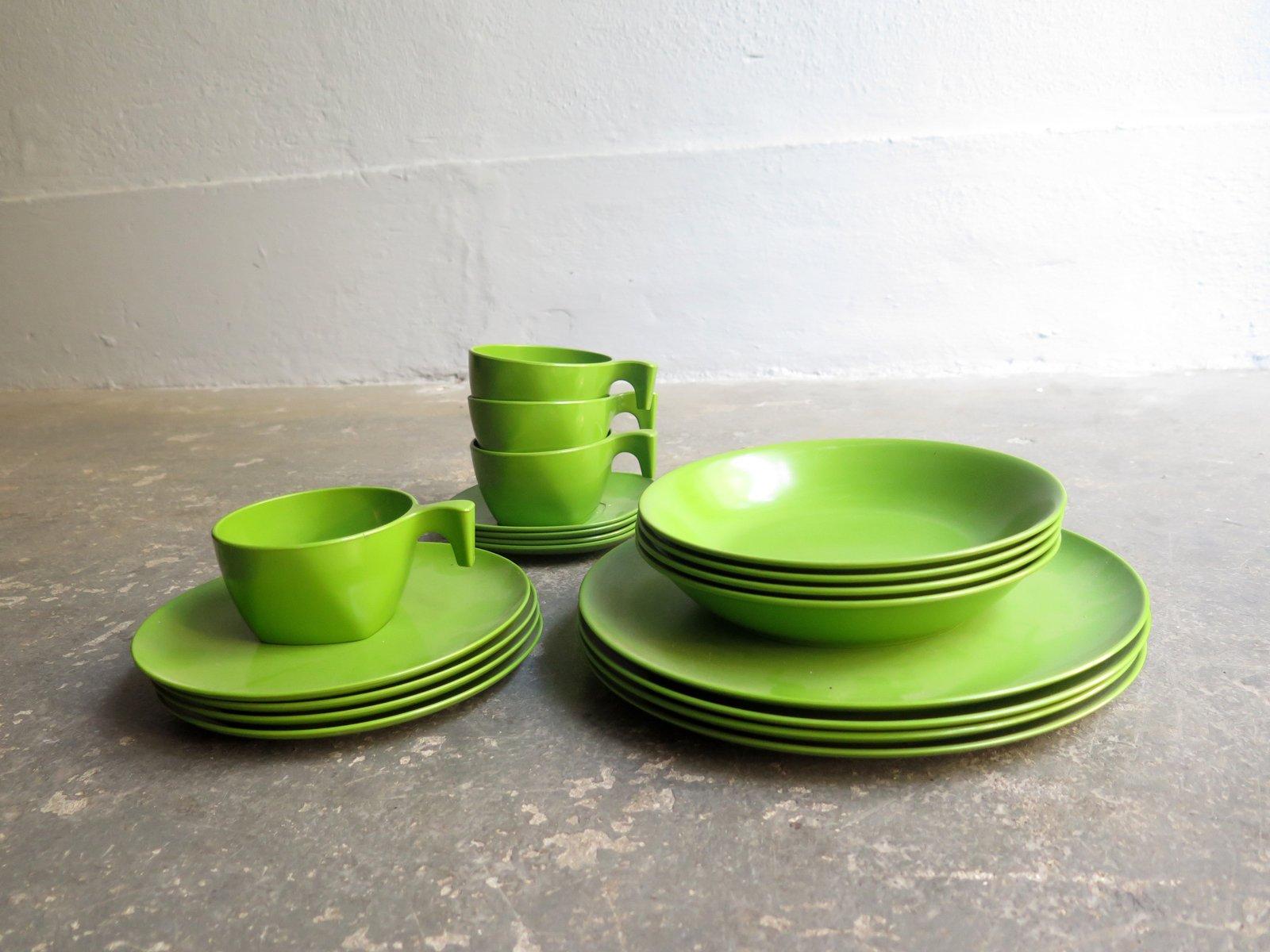 Green Melamine Modernist Tableware Set & Green Melamine Modernist Tableware Set for sale at Pamono