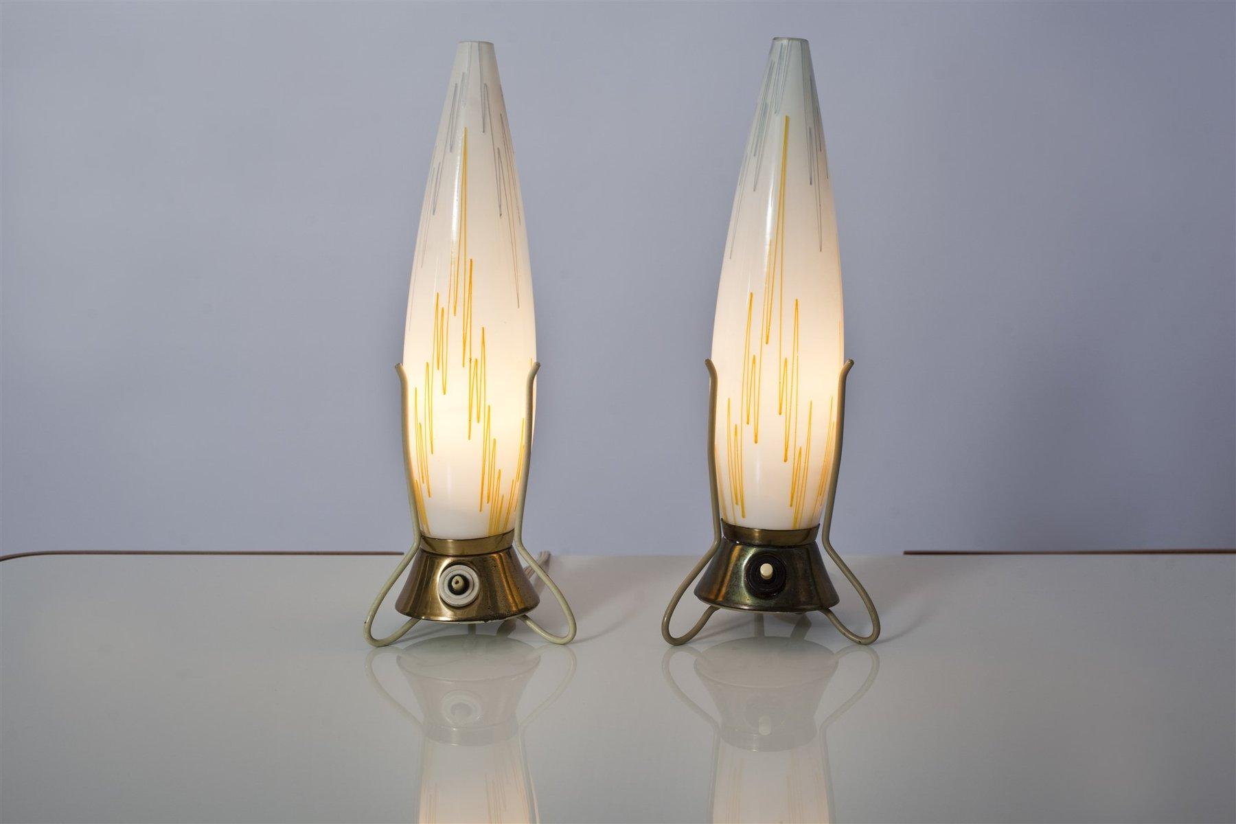Vintage Czech Tripod Table Lamps, Set Of 2