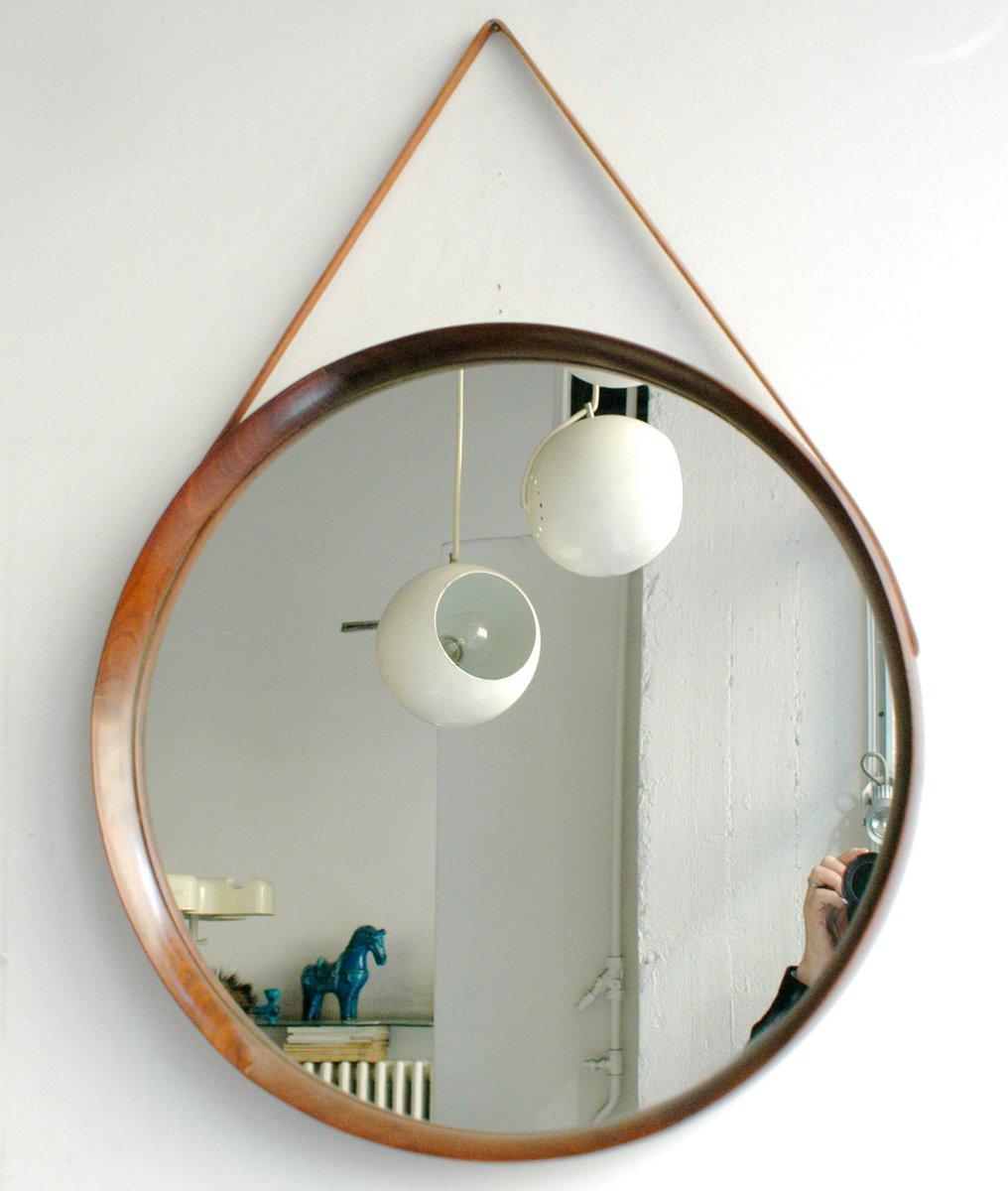 Miroir Rond en Palissandre par Uno & –sten Kristiansson pour Luxus