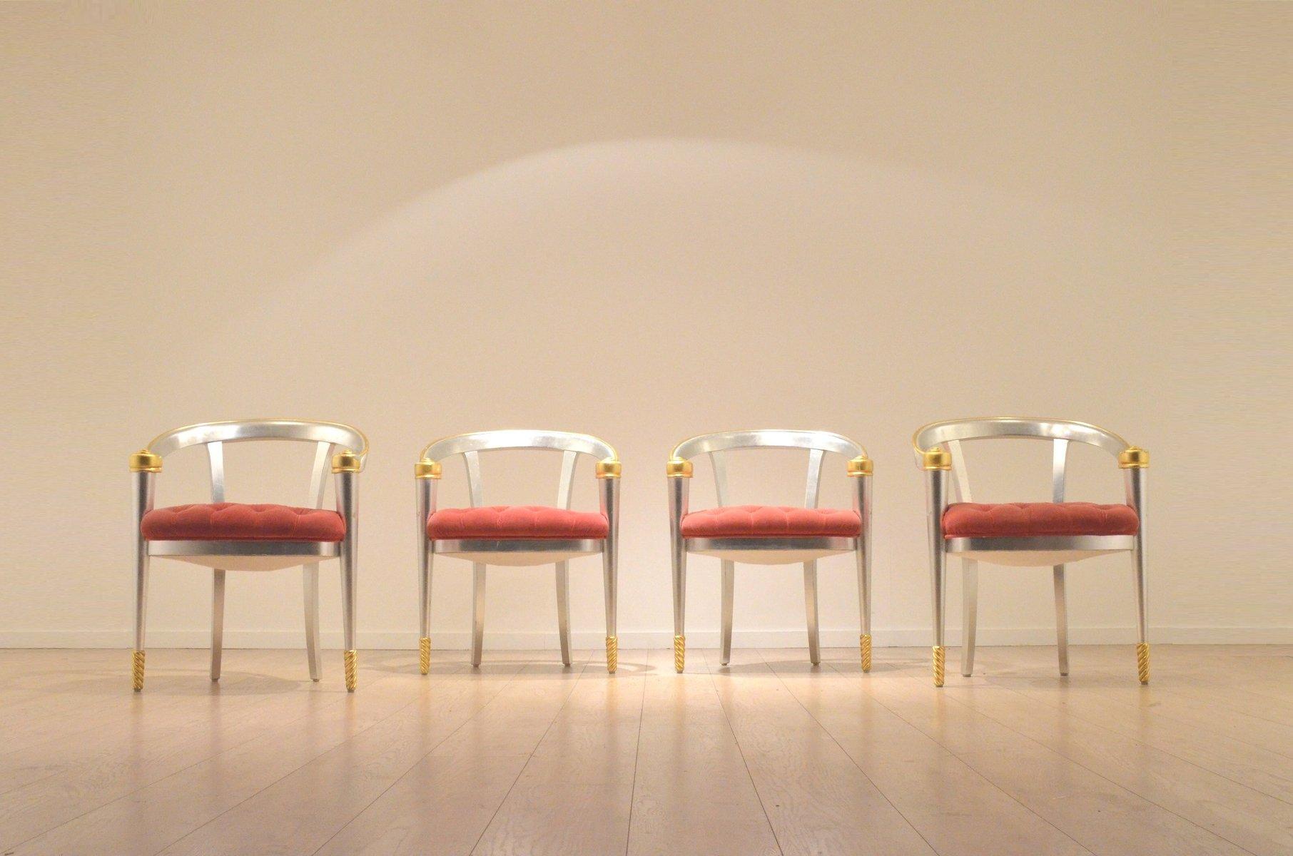Vintage Italian Gold U0026 Silver Leaf Coffee Table U0026 Lounge Chairs