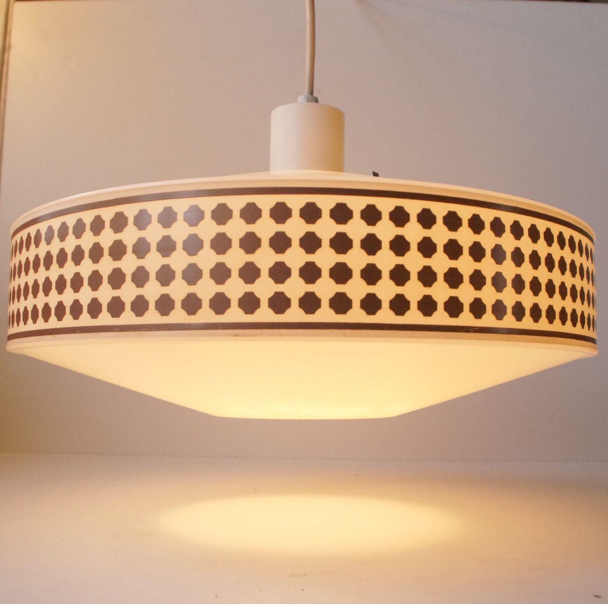 h ngelampe mit geometrischem kupfer muster von heifetz rotaflex 1960er bei pamono kaufen. Black Bedroom Furniture Sets. Home Design Ideas