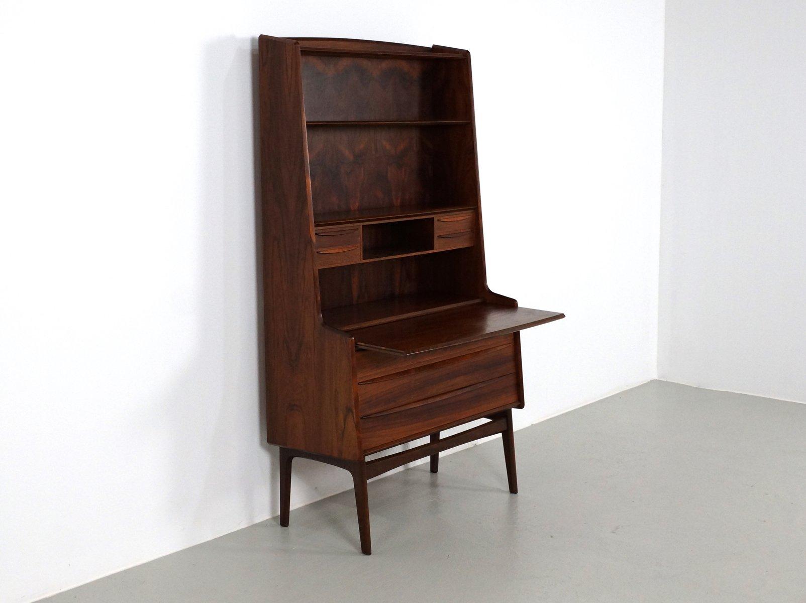 Secretaire vintage in palissandro con scrivania a scomparsa ...