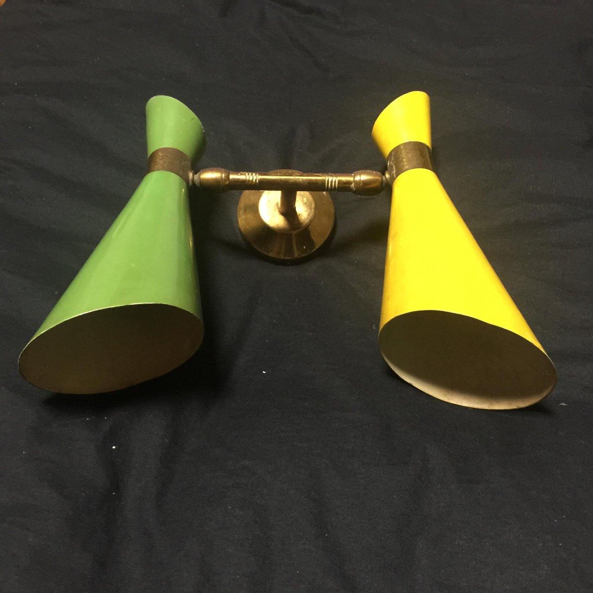 Italienische wandlampe in gr n gelb mit zwei leuchten for Italienische leuchten