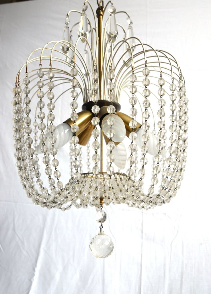 Vintage Italian Chandelier With Glass Beads For Sale At Pamono