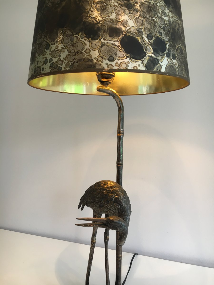 Lampe Vintage Noire en Métal avec Sculpture Oiseau en vente sur Pamono - Lampe Oiseau