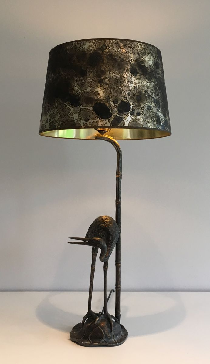 schwarze vintage metall lampe mit vogel skulptur bei pamono kaufen. Black Bedroom Furniture Sets. Home Design Ideas
