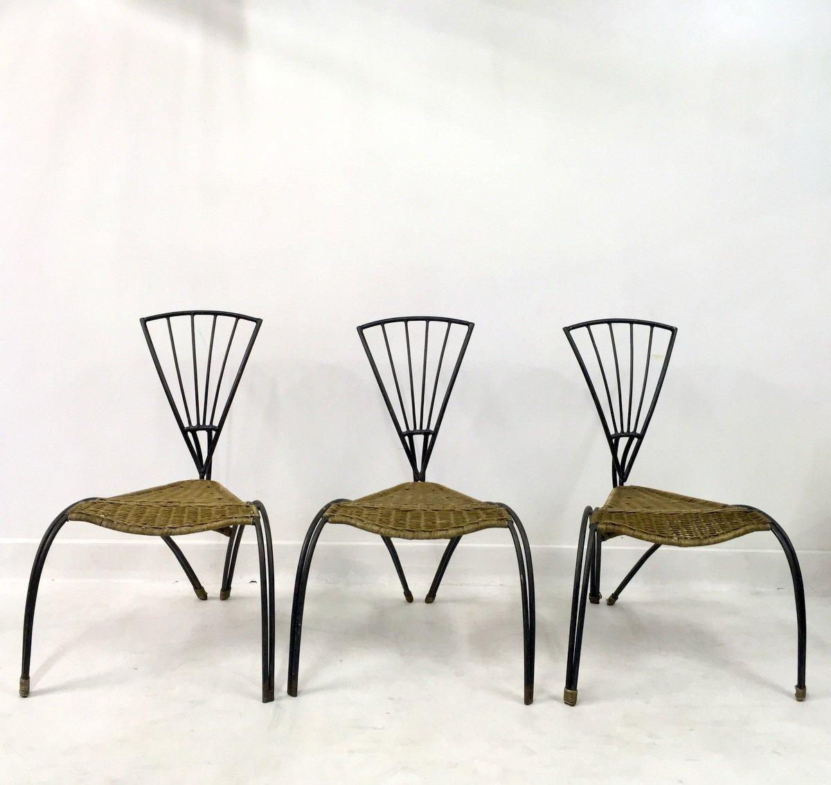 Sedie in ferro battuto e vimini, Francia, set di 3 in vendita su ...