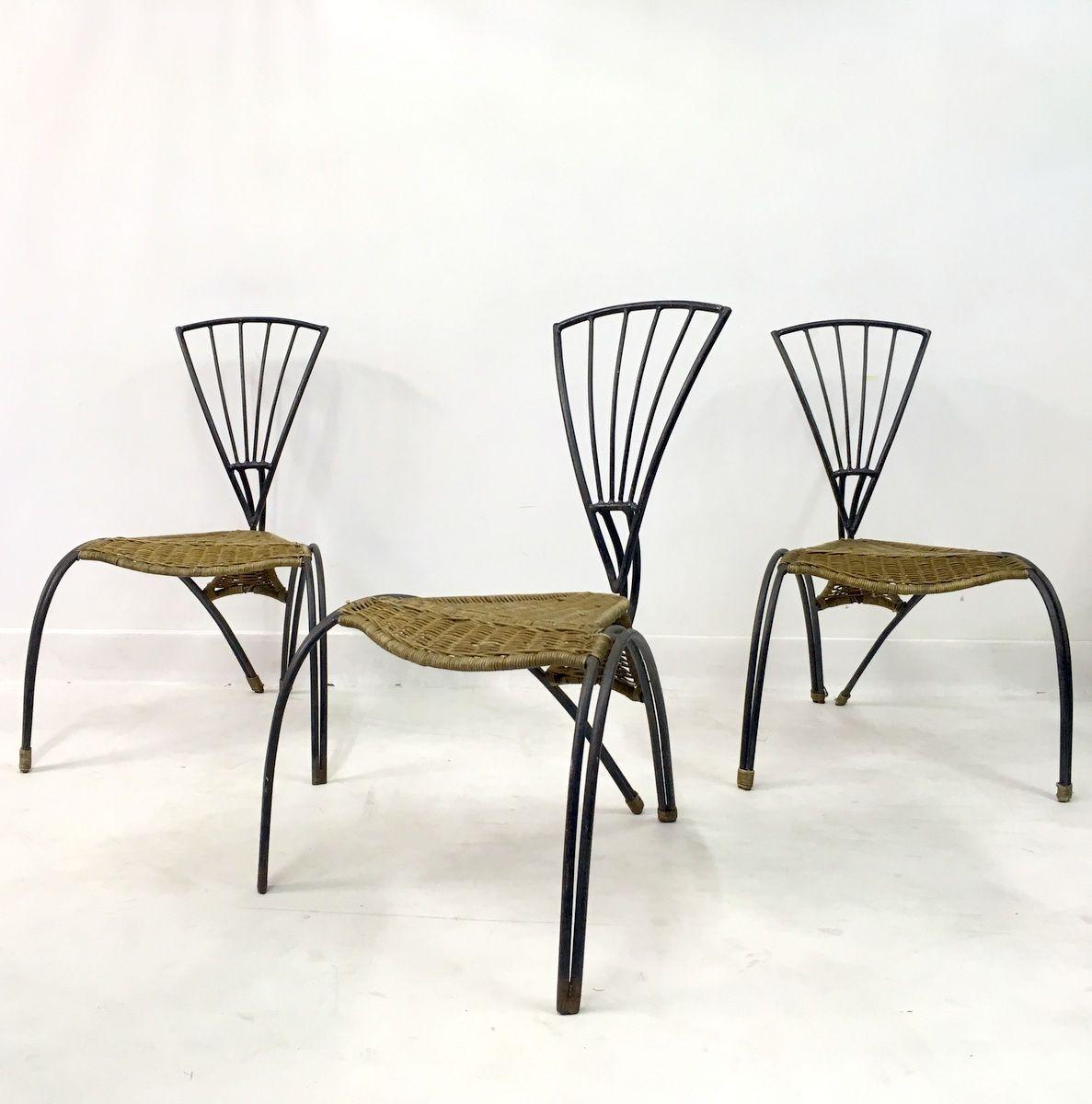 franz sische st hle aus schmiedeeisen rattan 3er set. Black Bedroom Furniture Sets. Home Design Ideas