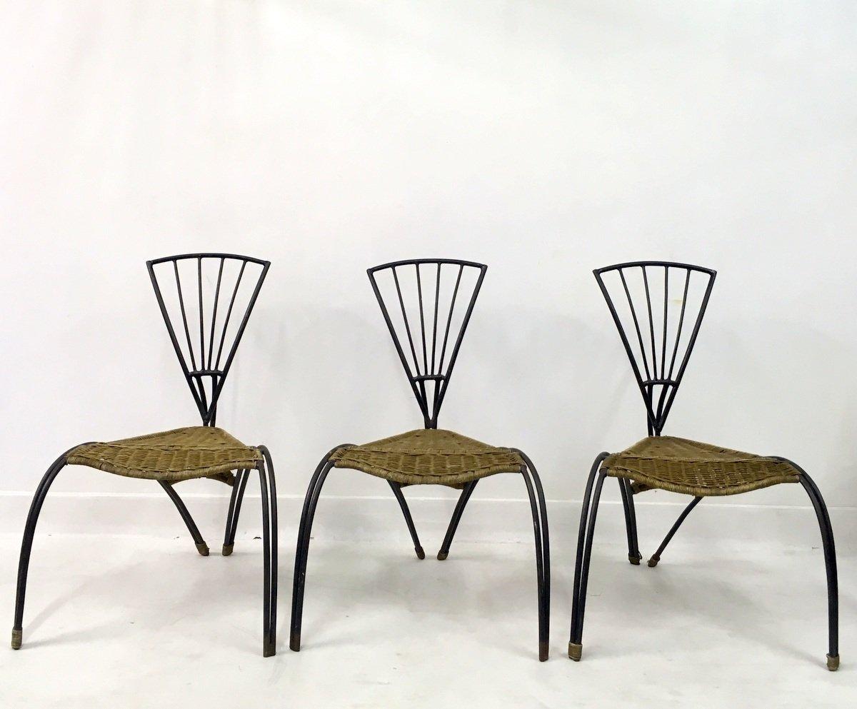 Sedie in ferro battuto e vimini, Francia, set di 3 in vendita su Pamono