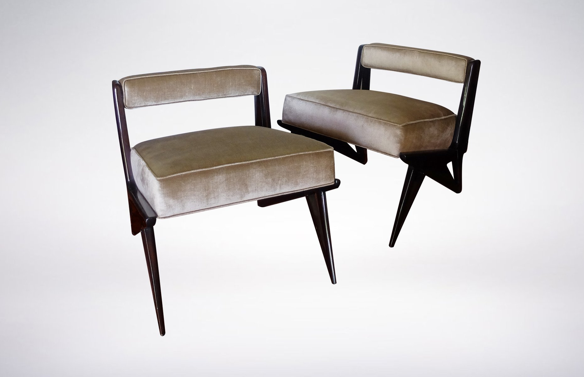 Grau gr ner samt polsterstuhl 1950er bei pamono kaufen for Polsterstuhl grau