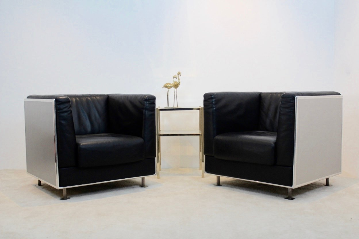 vintage leder aluminium sessel von kunihide oshinomi f r matteo grassi 2er set bei pamono kaufen. Black Bedroom Furniture Sets. Home Design Ideas