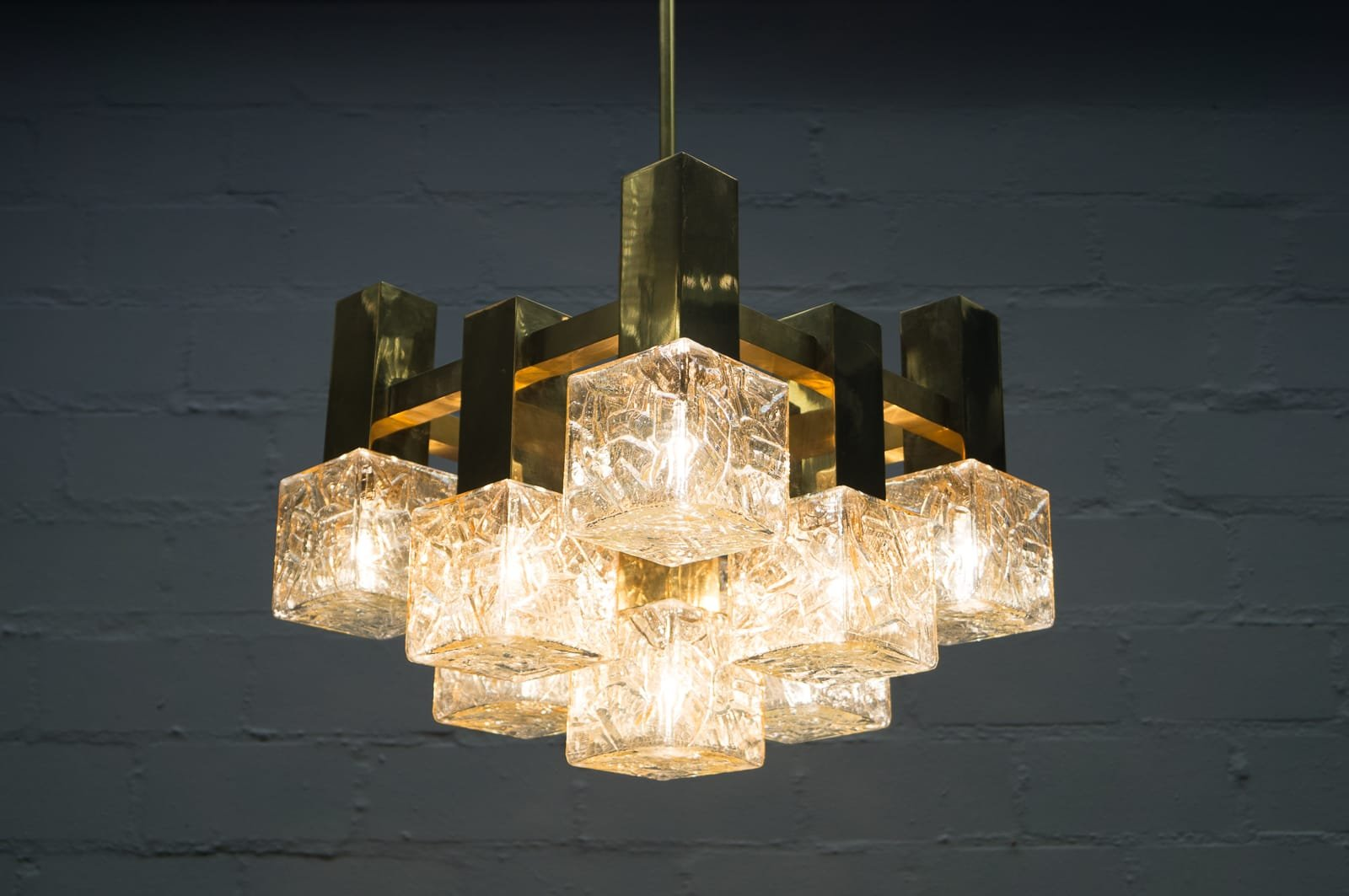 Italian Brass And Glass Chandelier 1960s