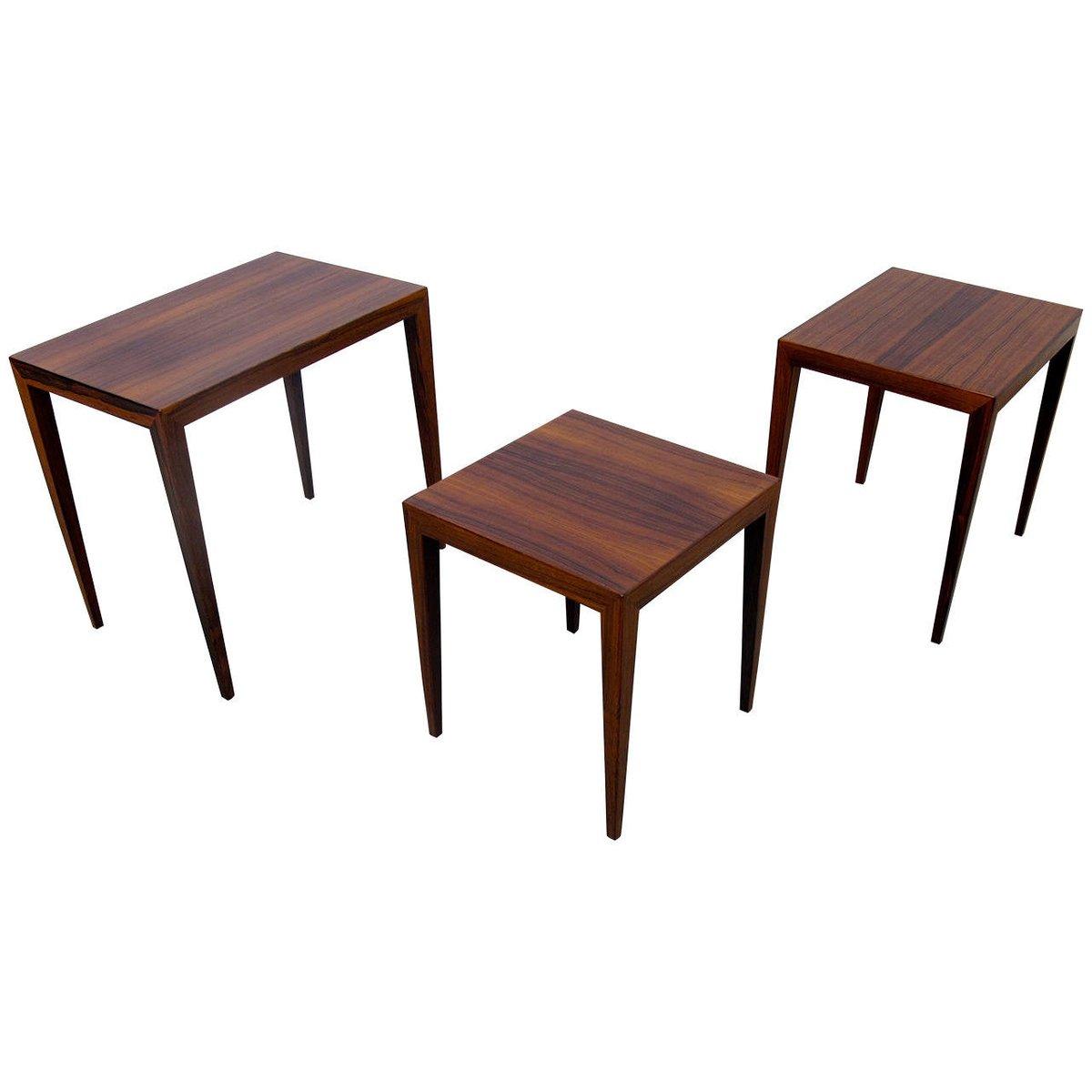 Vintage Danish Nesting Rosewood Tables By Severin Hansen