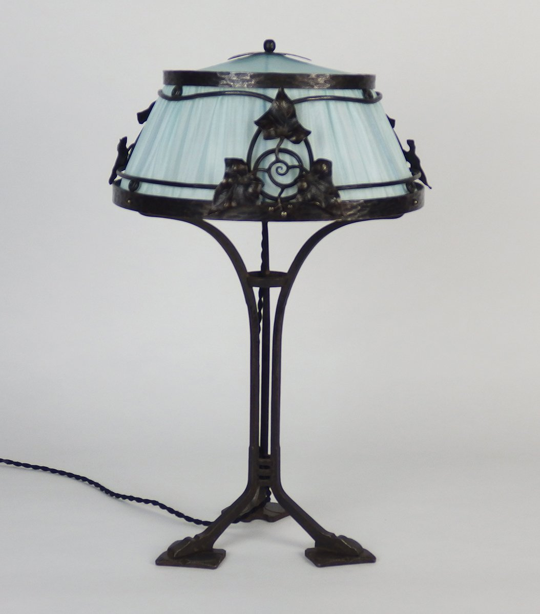 Lovely French Wrought Iron Table Lamp, 1910s