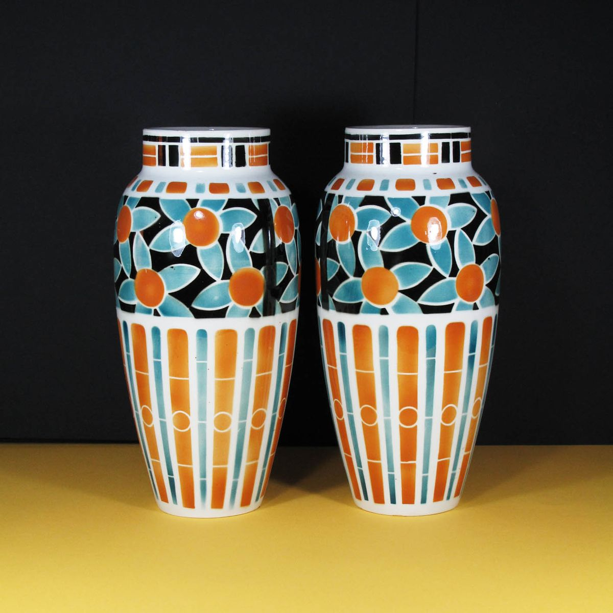 vintage french art deco vases by keller et gu rin for lun ville set of 2 for sale at pamono. Black Bedroom Furniture Sets. Home Design Ideas