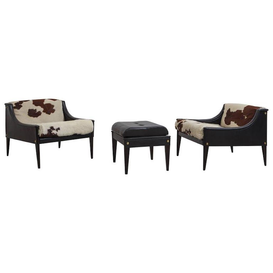 fauteuils et ottomane dezza par gio ponti pour poltrona. Black Bedroom Furniture Sets. Home Design Ideas