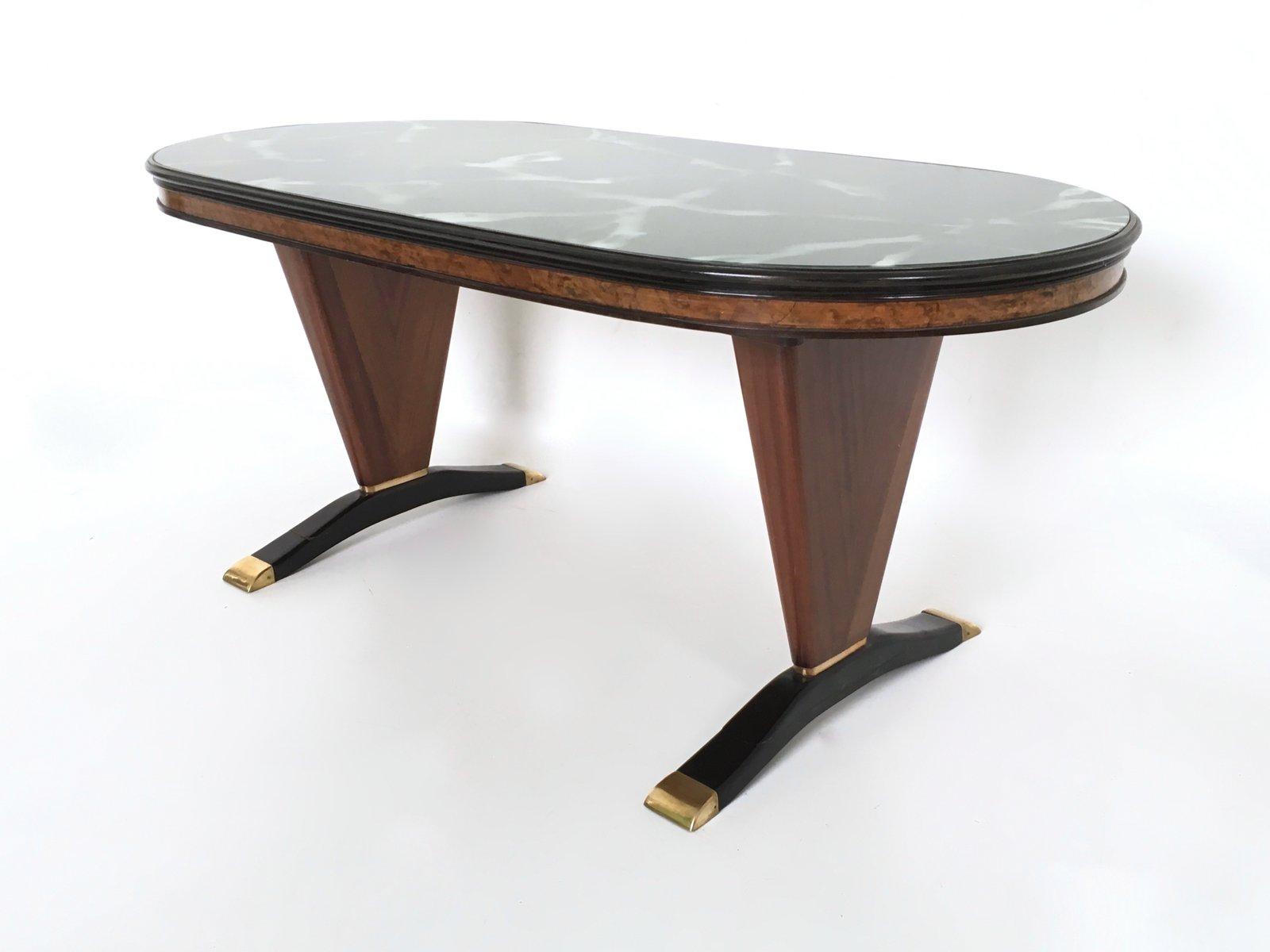 Tisch aus mahagoni hinterlackiertem glas 1950er bei for Tisch aus glas