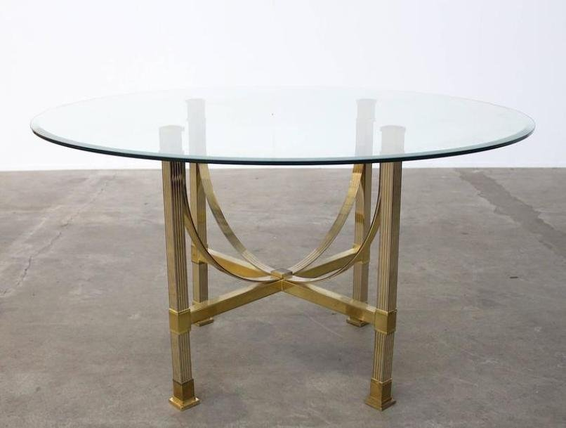 Delightful Brass U0026 Glass Dining Table From Maison Jansen For Sale At Pamono