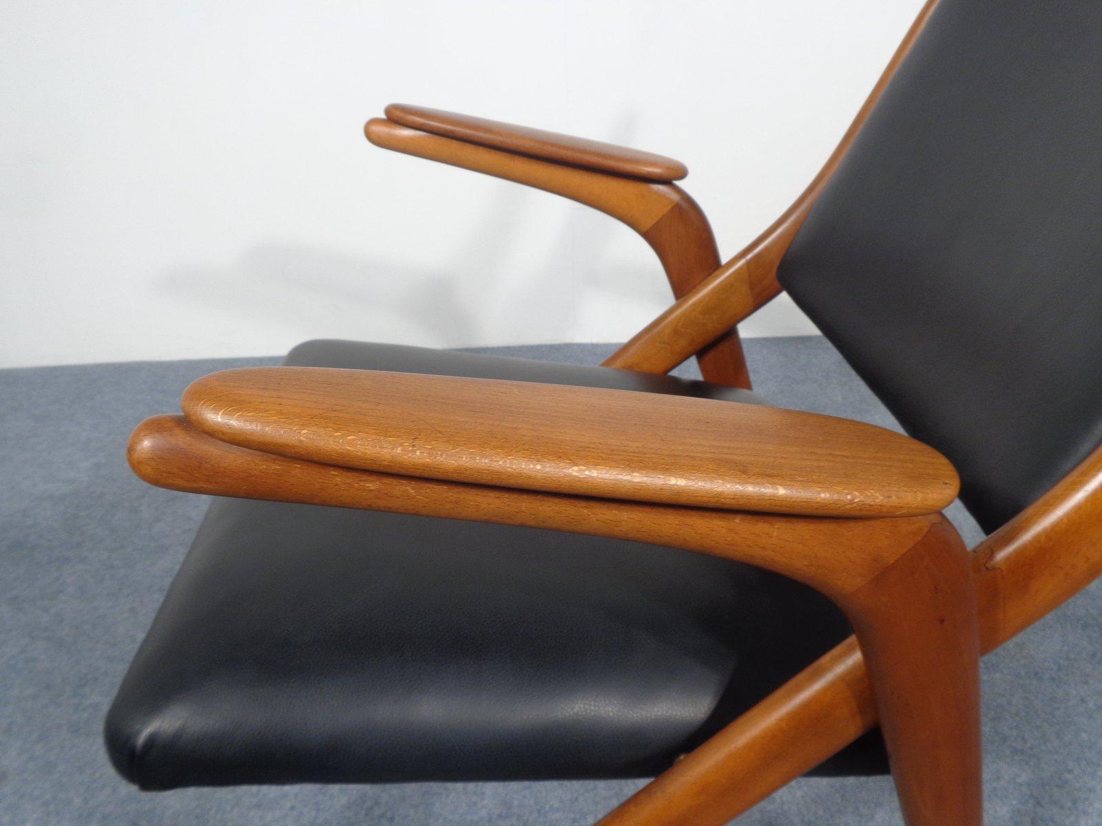 chaise boomerang en cuir noir 1960s en vente sur pamono. Black Bedroom Furniture Sets. Home Design Ideas