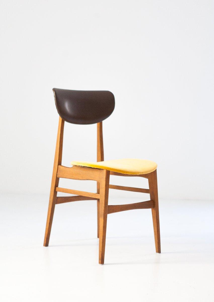 Schwedische Mid Century Stühle Aus Skai U0026 Samt, 1950er, 4er Set