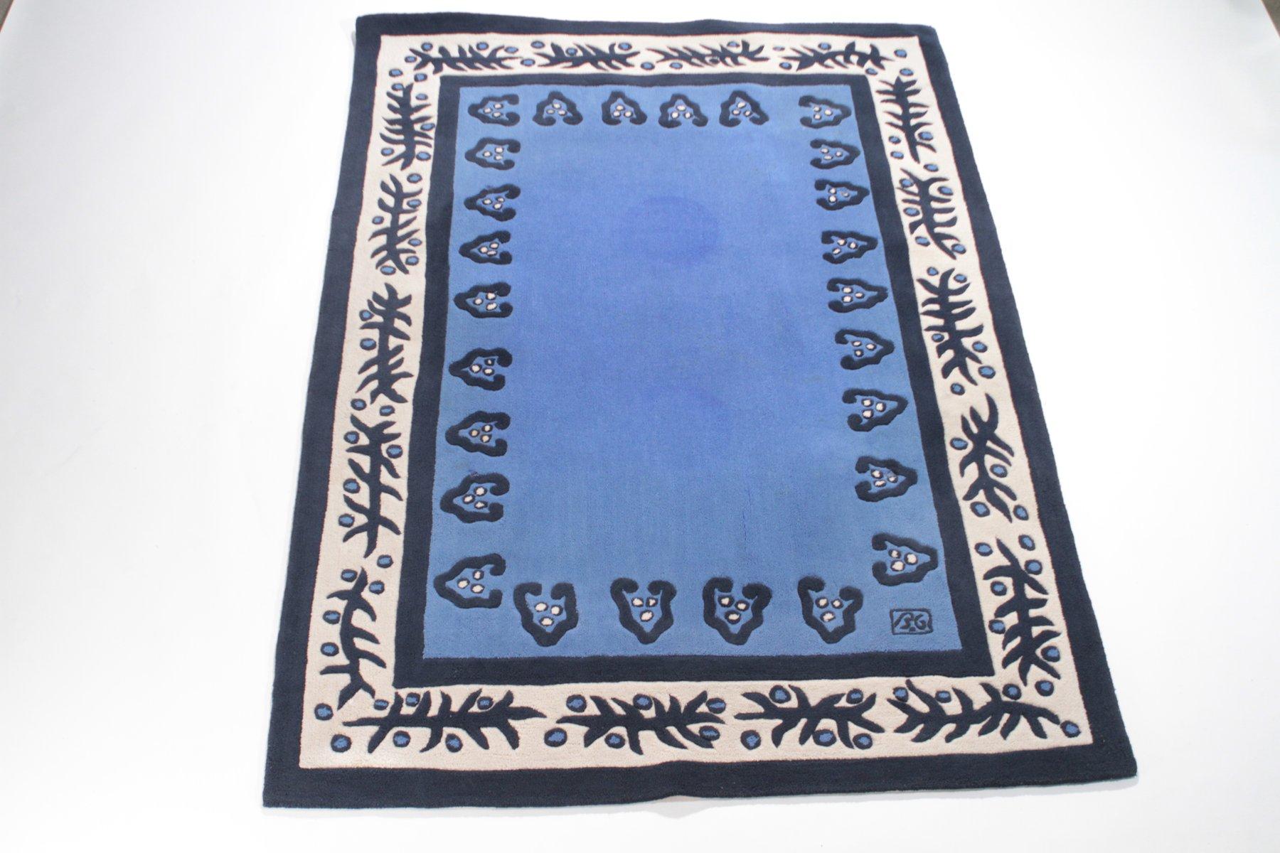 blauer teppich von garouste bonetti f r sam la k 1990er. Black Bedroom Furniture Sets. Home Design Ideas